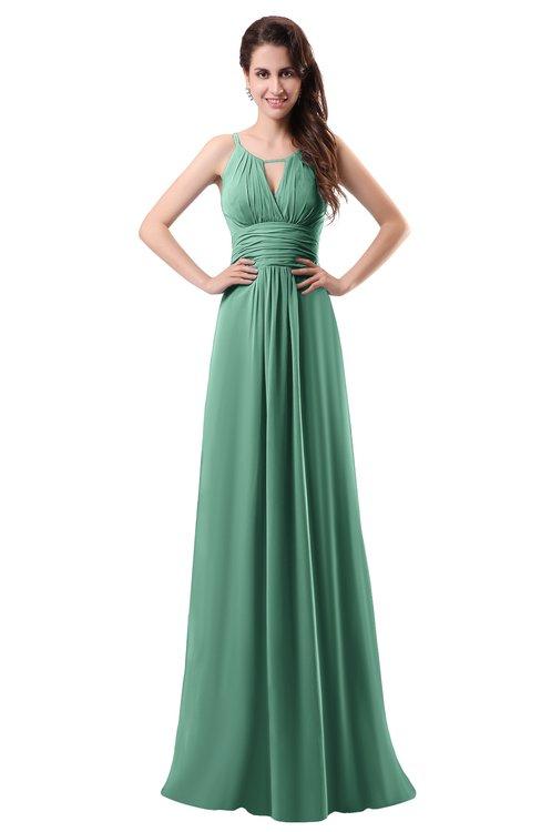ColsBM Daisy Beryl Green Simple Column Scoop Chiffon Ruching Bridesmaid Dresses