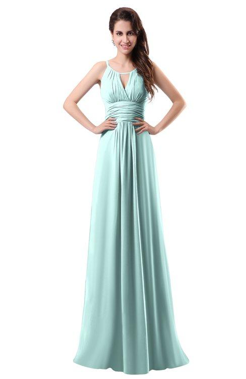 ColsBM Daisy Blue Glass Simple Column Scoop Chiffon Ruching Bridesmaid Dresses