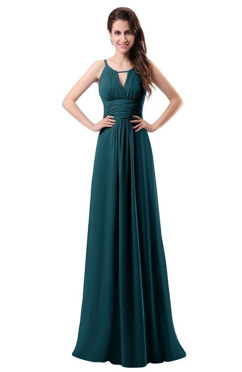 ColsBM Daisy Blue Green Simple Column Scoop Chiffon Ruching Bridesmaid Dresses