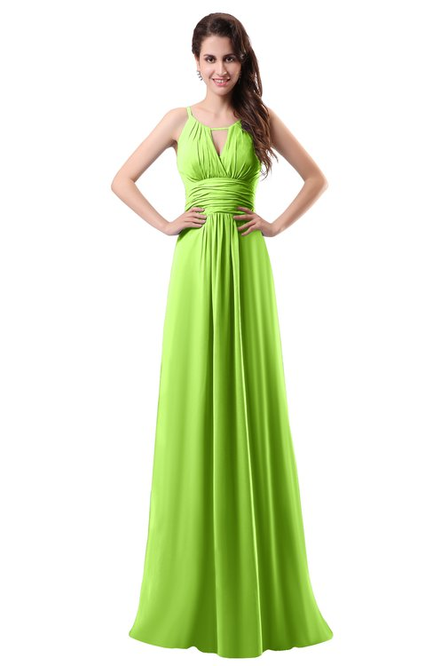 ColsBM Daisy Bright Green Simple Column Scoop Chiffon Ruching Bridesmaid Dresses