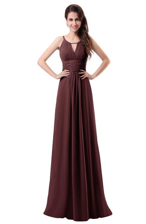 ColsBM Daisy Burgundy Simple Column Scoop Chiffon Ruching Bridesmaid Dresses