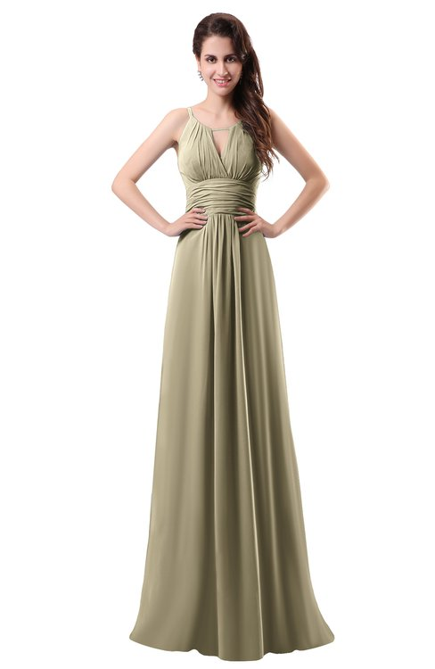 ColsBM Daisy Candied Ginger Simple Column Scoop Chiffon Ruching Bridesmaid Dresses
