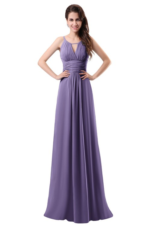 ColsBM Daisy Chalk Violet Simple Column Scoop Chiffon Ruching Bridesmaid Dresses