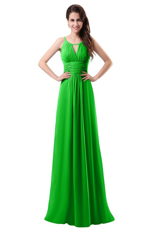 ColsBM Daisy Classic Green Simple Column Scoop Chiffon Ruching Bridesmaid Dresses