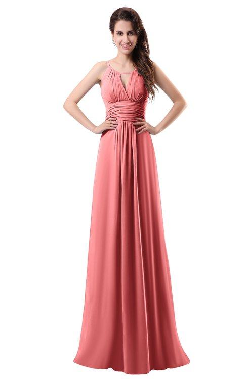 ColsBM Daisy Coral Simple Column Scoop Chiffon Ruching Bridesmaid Dresses