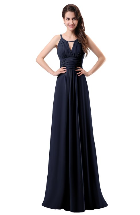 ColsBM Daisy Dark Sapphire Simple Column Scoop Chiffon Ruching Bridesmaid Dresses