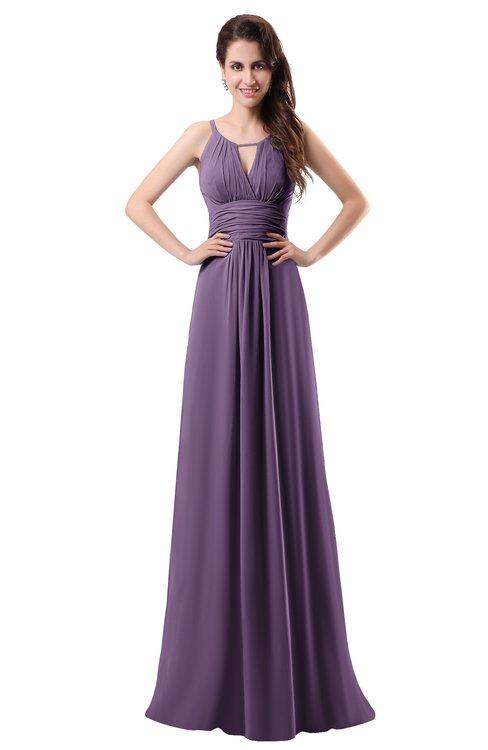 ColsBM Daisy Eggplant Simple Column Scoop Chiffon Ruching Bridesmaid Dresses