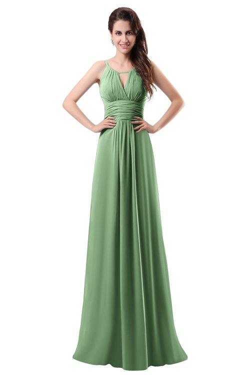 ColsBM Daisy Fair Green Simple Column Scoop Chiffon Ruching Bridesmaid Dresses