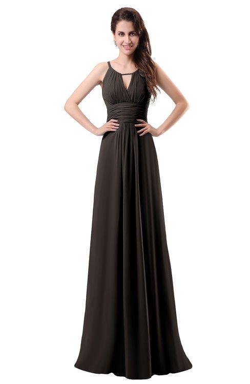 ColsBM Daisy Fudge Brown Simple Column Scoop Chiffon Ruching Bridesmaid Dresses