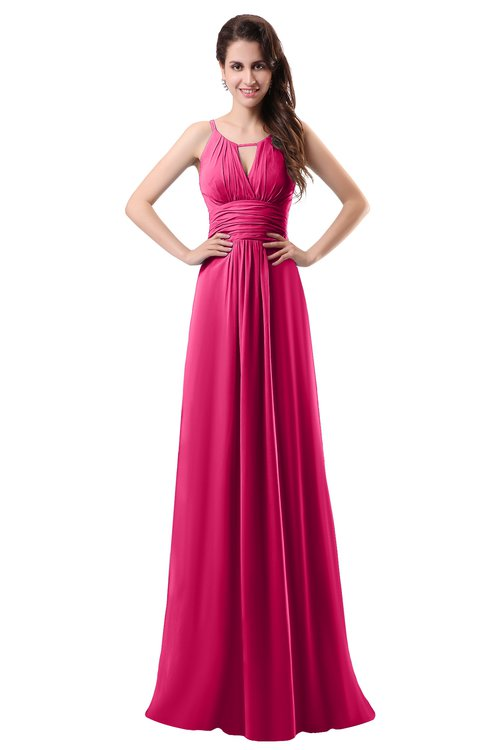 ColsBM Daisy Fuschia Simple Column Scoop Chiffon Ruching Bridesmaid Dresses