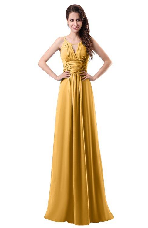 ColsBM Daisy Golden Cream Simple Column Scoop Chiffon Ruching Bridesmaid Dresses