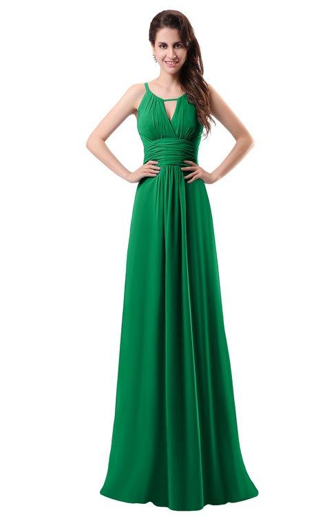 ColsBM Daisy Green Simple Column Scoop Chiffon Ruching Bridesmaid Dresses