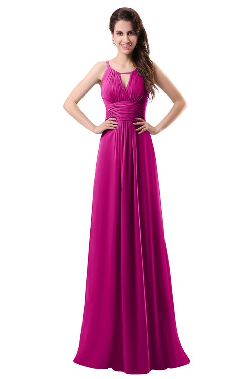 ColsBM Daisy Hot Pink Simple Column Scoop Chiffon Ruching Bridesmaid Dresses