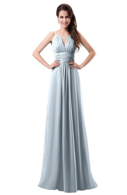 ColsBM Daisy Illusion Blue Simple Column Scoop Chiffon Ruching Bridesmaid Dresses
