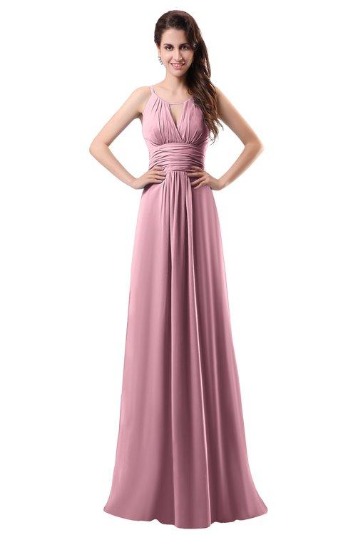 ColsBM Daisy Light Coral Simple Column Scoop Chiffon Ruching Bridesmaid Dresses