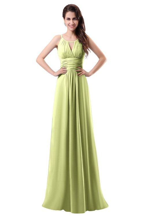 ColsBM Daisy Lime Sherbet Simple Column Scoop Chiffon Ruching Bridesmaid Dresses