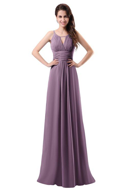 ColsBM Daisy Mauve Simple Column Scoop Chiffon Ruching Bridesmaid Dresses
