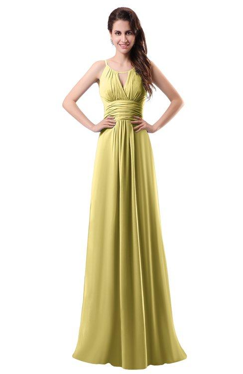 ColsBM Daisy Misted Yellow Simple Column Scoop Chiffon Ruching Bridesmaid Dresses