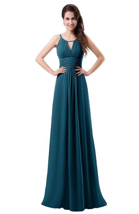 ColsBM Daisy Moroccan Blue Simple Column Scoop Chiffon Ruching Bridesmaid Dresses