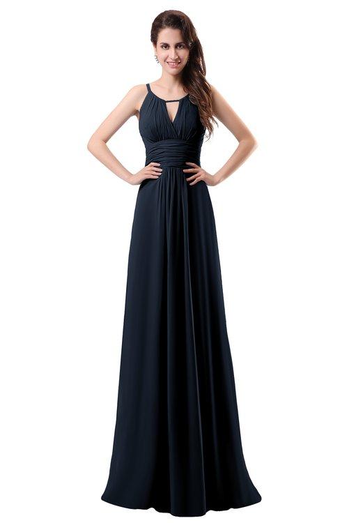 ColsBM Daisy Navy Blue Simple Column Scoop Chiffon Ruching Bridesmaid Dresses