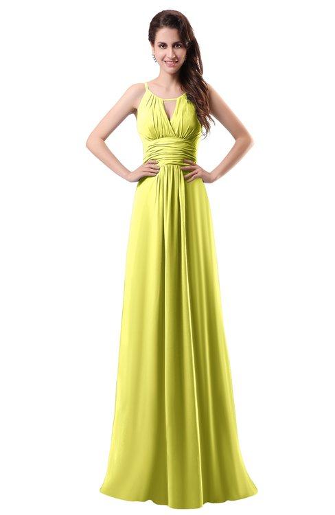 ColsBM Daisy Pale Yellow Simple Column Scoop Chiffon Ruching Bridesmaid Dresses