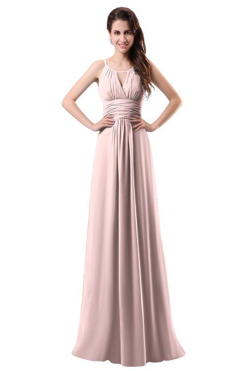 ColsBM Daisy Pastel Pink Simple Column Scoop Chiffon Ruching Bridesmaid Dresses