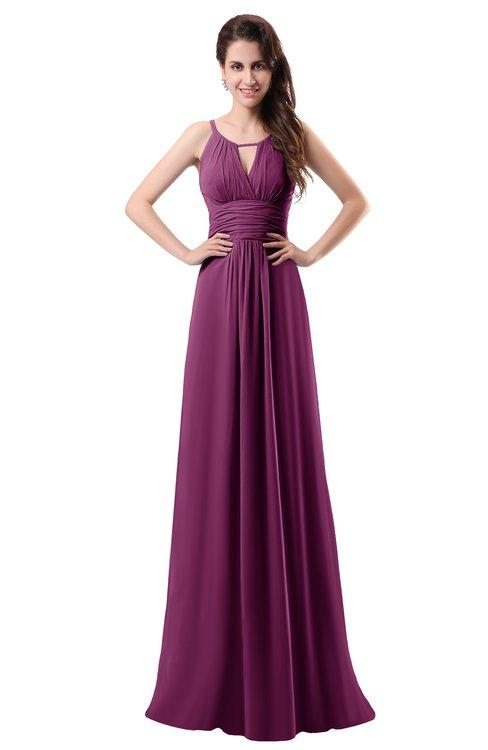 ColsBM Daisy Raspberry Simple Column Scoop Chiffon Ruching Bridesmaid Dresses