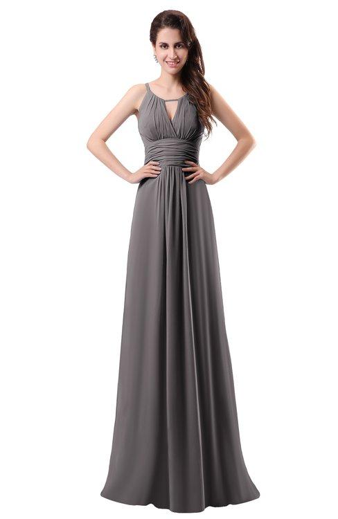 ColsBM Daisy Ridge Grey Simple Column Scoop Chiffon Ruching Bridesmaid Dresses