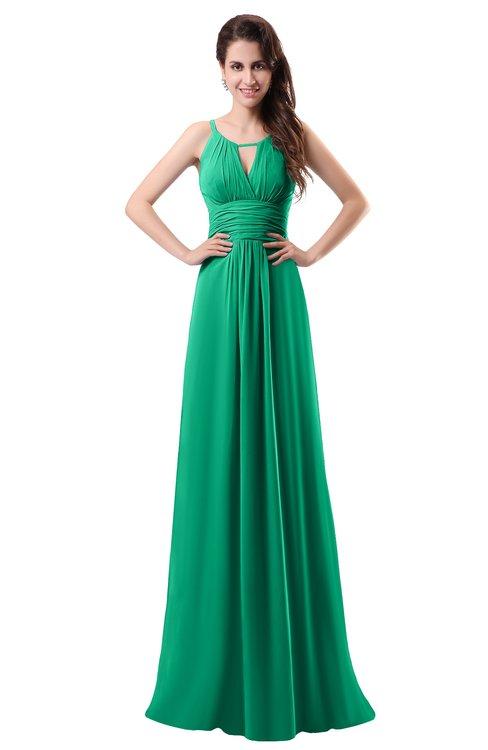 ColsBM Daisy Sea Green Simple Column Scoop Chiffon Ruching Bridesmaid Dresses