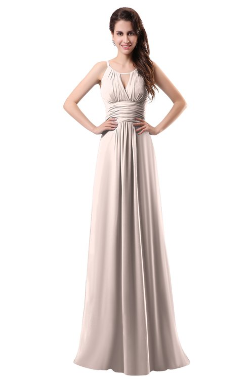 ColsBM Daisy Silver Peony Simple Column Scoop Chiffon Ruching Bridesmaid Dresses