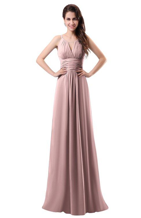 ColsBM Daisy Silver Pink Simple Column Scoop Chiffon Ruching Bridesmaid Dresses