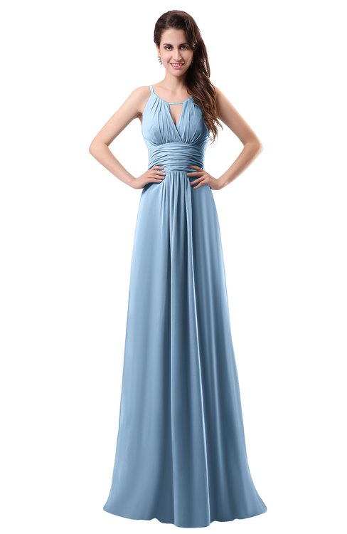 ColsBM Daisy Sky Blue Simple Column Scoop Chiffon Ruching Bridesmaid Dresses