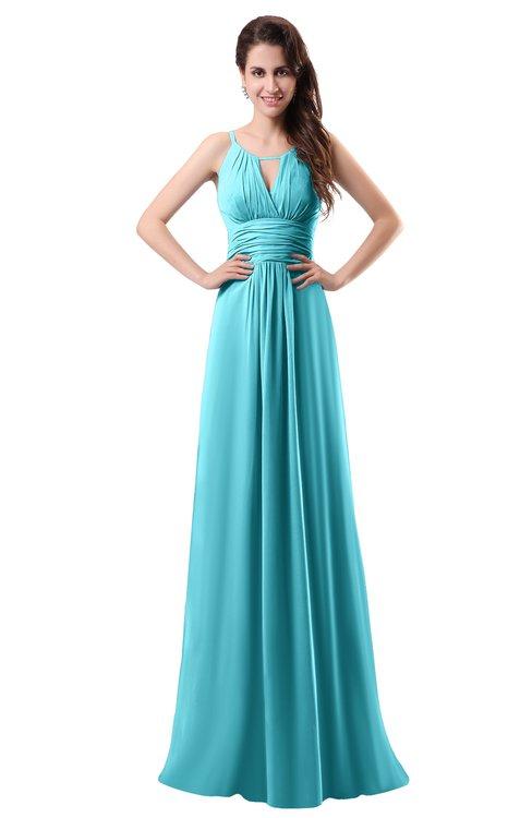 ColsBM Daisy Turquoise Simple Column Scoop Chiffon Ruching Bridesmaid Dresses