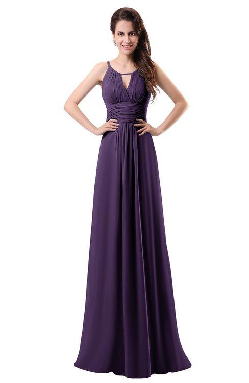 ColsBM Daisy Violet Simple Column Scoop Chiffon Ruching Bridesmaid Dresses