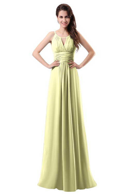 ColsBM Daisy Wax Yellow Simple Column Scoop Chiffon Ruching Bridesmaid Dresses