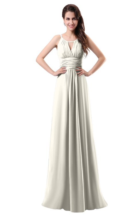 ColsBM Daisy Whisper White Simple Column Scoop Chiffon Ruching Bridesmaid Dresses