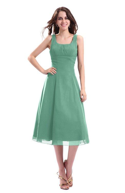 ColsBM Annabel Beryl Green Simple A-line Chiffon Tea Length Pleated Cocktail Dresses
