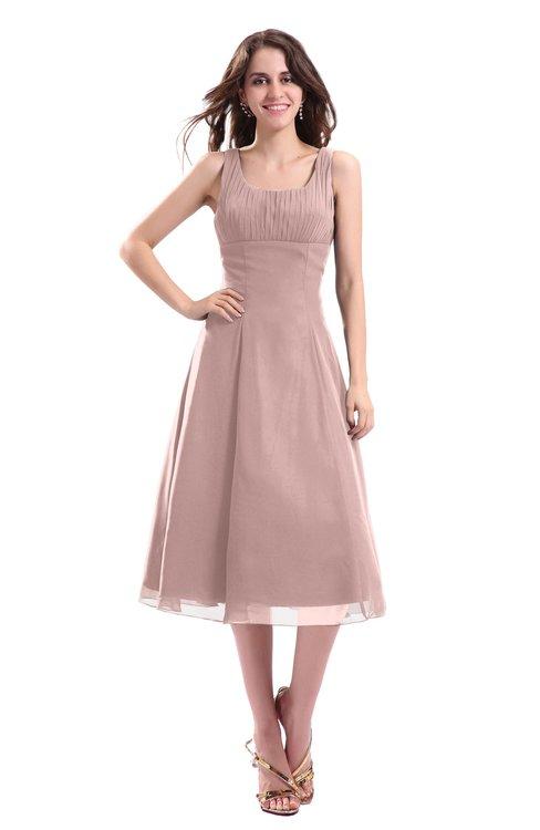 ColsBM Annabel Blush Pink Simple A-line Chiffon Tea Length Pleated Cocktail Dresses