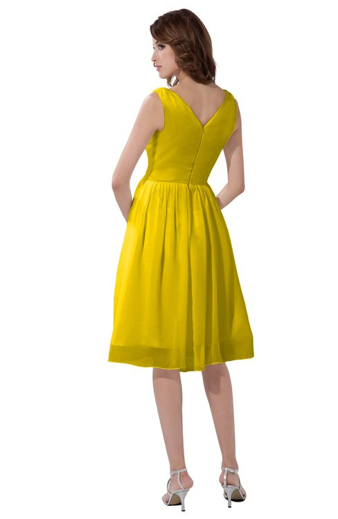 6370a62f ... ColsBM Alexis Yellow Simple A-line V-neck Zipper Knee Length Ruching  Party Dresses