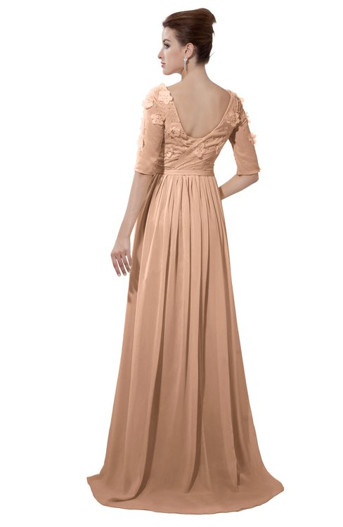 ColsBM Emily Almost Apricot Casual A-line Sabrina Elbow Length Sleeve Backless Beaded Bridesmaid Dresses