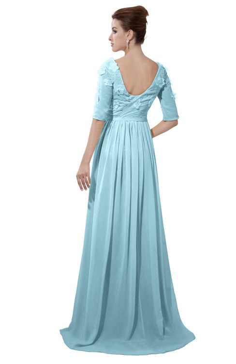 ColsBM Emily Aqua Casual A-line Sabrina Elbow Length Sleeve Backless Beaded Bridesmaid Dresses