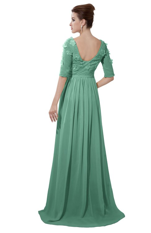 ColsBM Emily Beryl Green Casual A-line Sabrina Elbow Length Sleeve Backless Beaded Bridesmaid Dresses