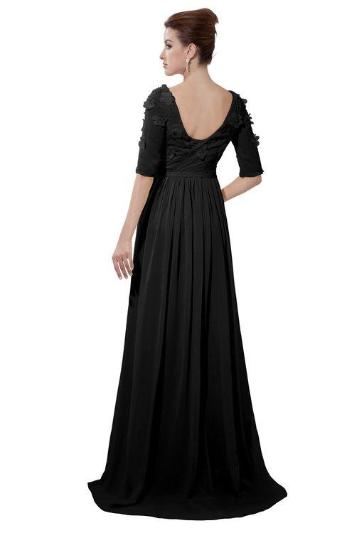 ColsBM Emily Black Casual A-line Sabrina Elbow Length Sleeve Backless Beaded Bridesmaid Dresses