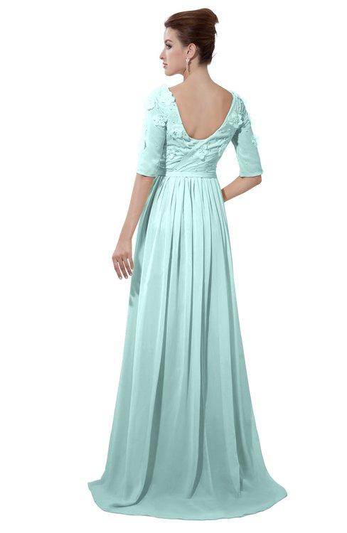 ColsBM Emily Blue Glass Casual A-line Sabrina Elbow Length Sleeve Backless Beaded Bridesmaid Dresses