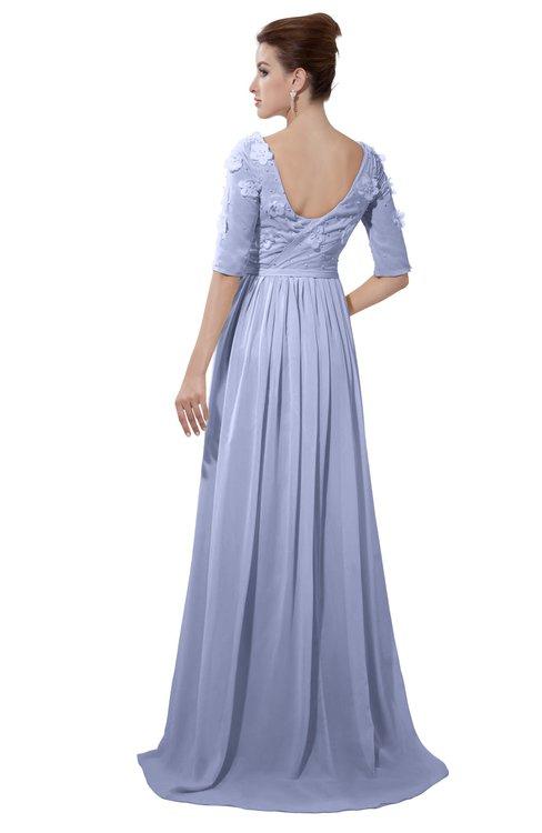 ColsBM Emily Blue Heron Casual A-line Sabrina Elbow Length Sleeve Backless Beaded Bridesmaid Dresses