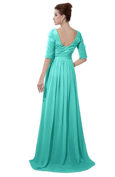 ColsBM Emily Blue Turquoise Casual A-line Sabrina Elbow Length Sleeve Backless Beaded Bridesmaid Dresses
