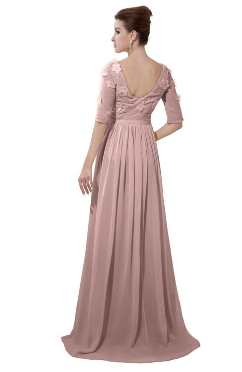 ColsBM Emily Blush Pink Casual A-line Sabrina Elbow Length Sleeve Backless Beaded Bridesmaid Dresses
