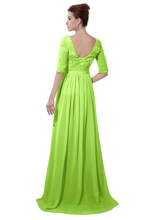 ColsBM Emily Bright Green Casual A-line Sabrina Elbow Length Sleeve Backless Beaded Bridesmaid Dresses