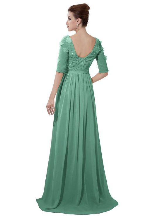 ColsBM Emily Bristol Blue Casual A-line Sabrina Elbow Length Sleeve Backless Beaded Bridesmaid Dresses