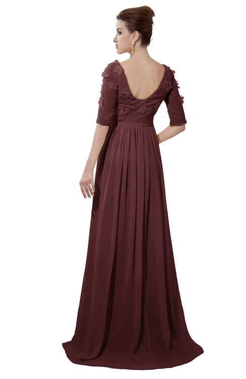 ColsBM Emily Burgundy Casual A-line Sabrina Elbow Length Sleeve Backless Beaded Bridesmaid Dresses